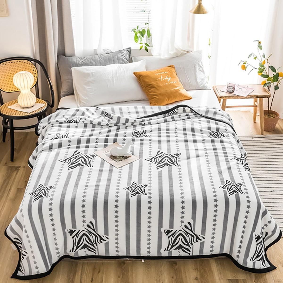 Flanellen deken met ster- en streeppatroon