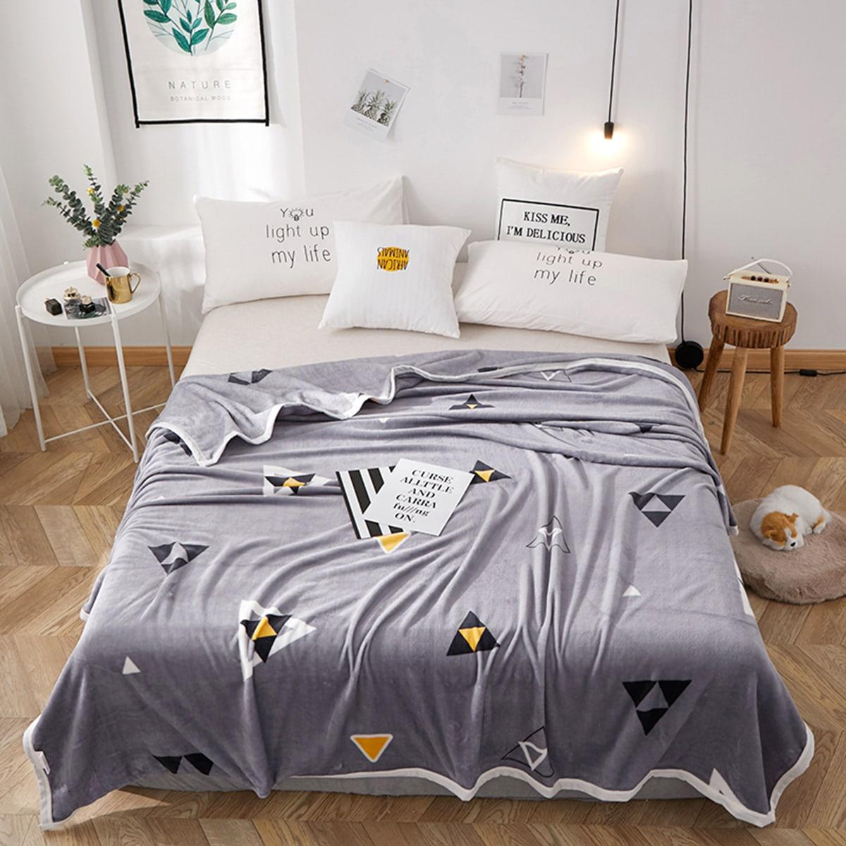 Flanellen deken met driehoekspatroon