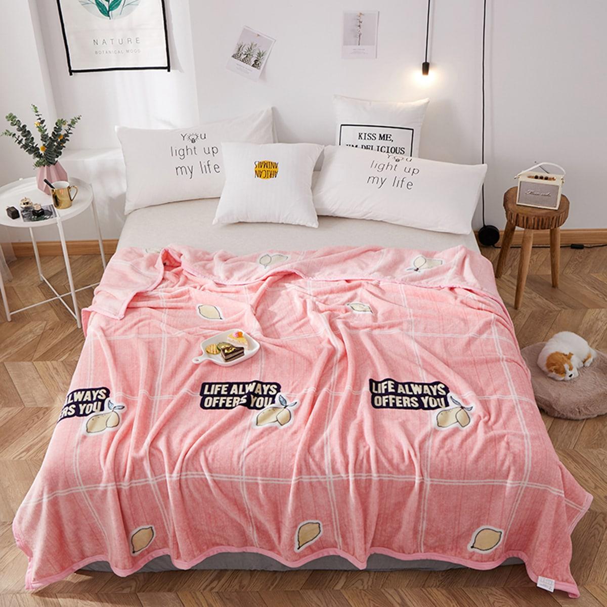 Citroen & Slogan patroon flanellen deken