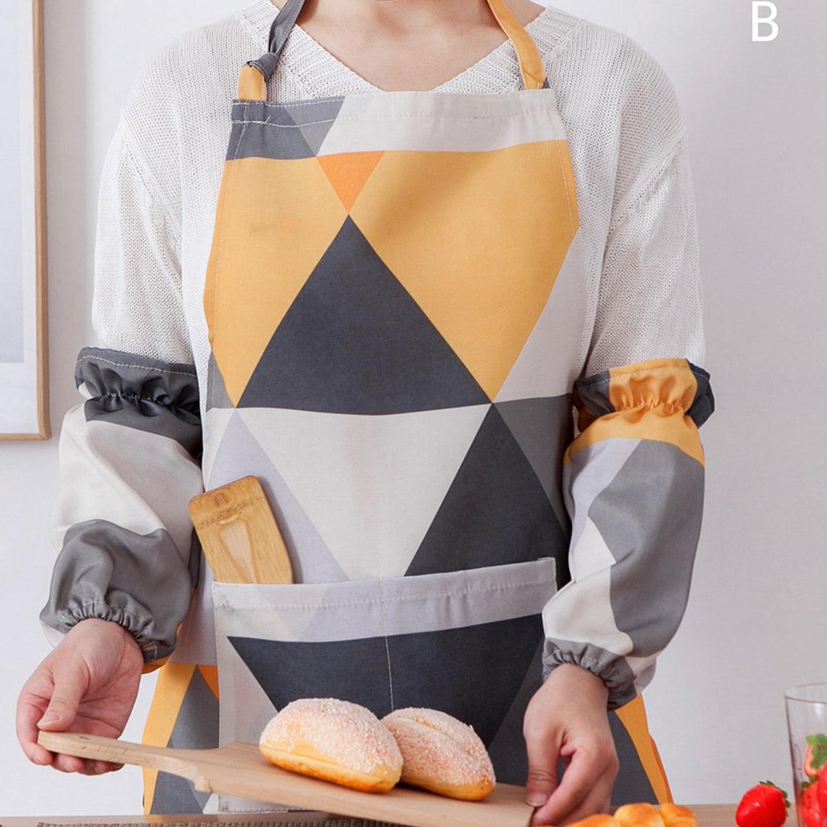 1pc geometrische patroon schort & 1 paar mouw Cover