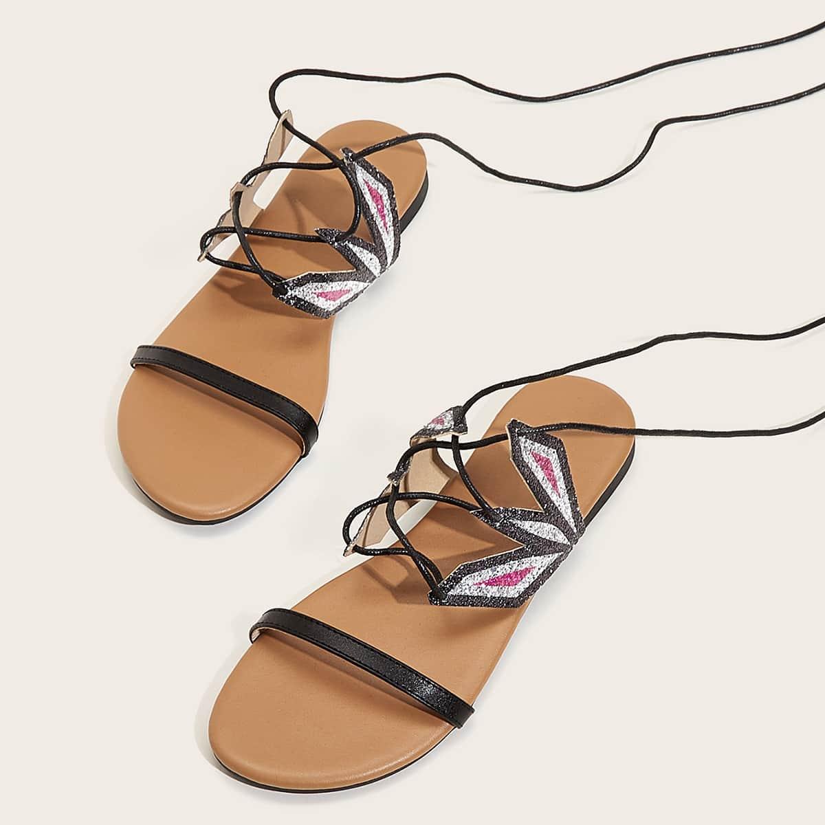 Glitter platte sandalen met open neus en strikbeen
