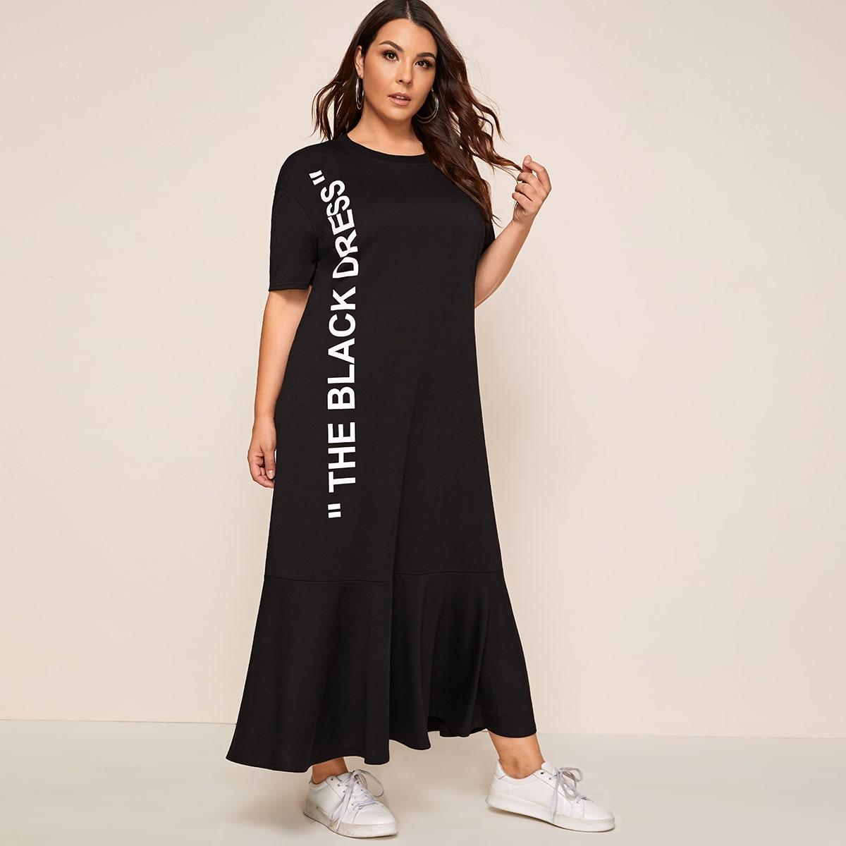 SHEIN / Übergroßes Puppe Kleid mit Buchstaben Grafik