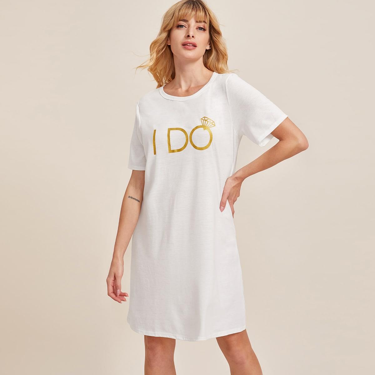 Wit Casual Slogan Lounge jurken