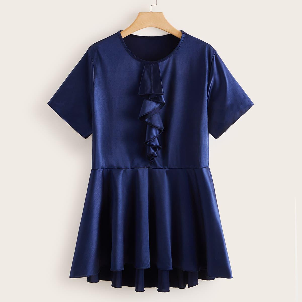 shein Marine Elegant Vlak Grote maten blouses Geribd