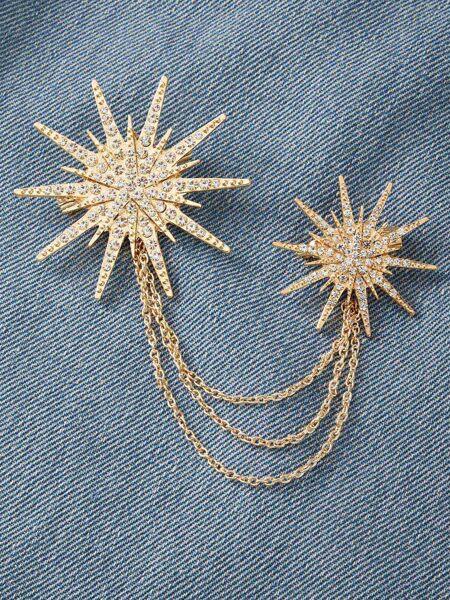 1pc Rhinestone Decor Divergent Star Chain Brooch