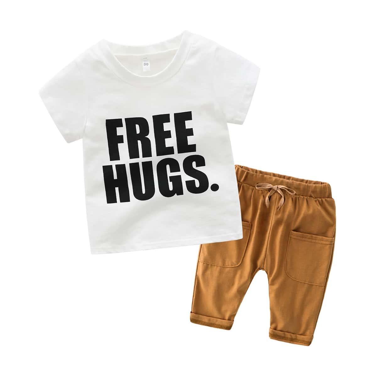 Футболка с текстовым принтом и брюки с кулиской для маленьких мальчиков от SHEIN