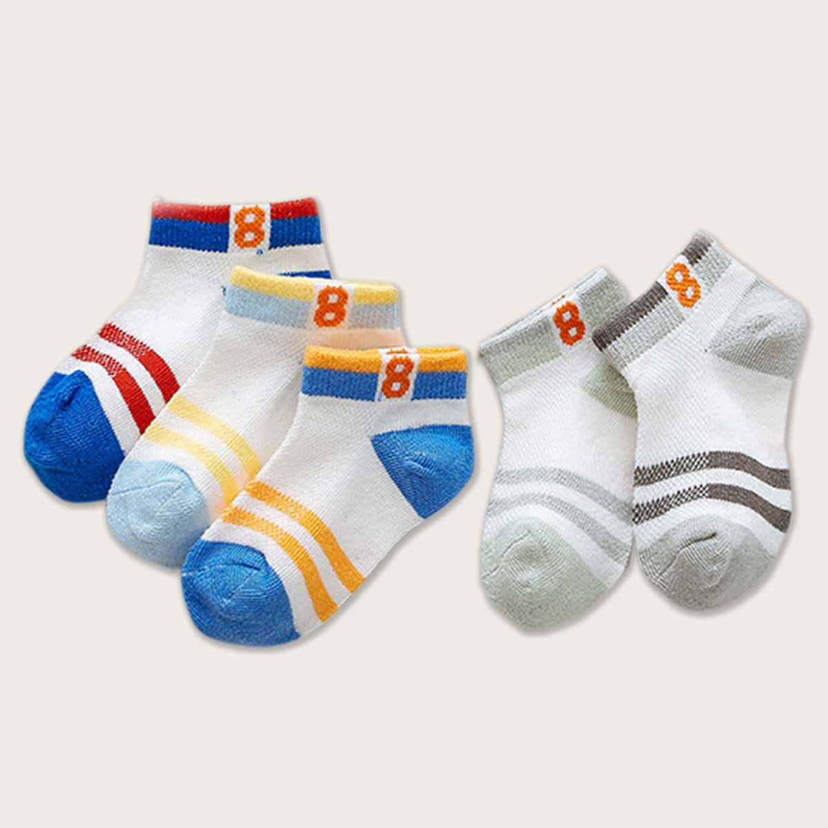 SHEIN / 5pairs Toddler Boys Striped Pattern Color Block Socks