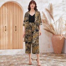 Ensemble kimono et pantalon à imprimé foulard