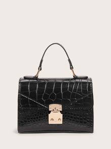 Satchel | Push | Croc | Lock | Bag