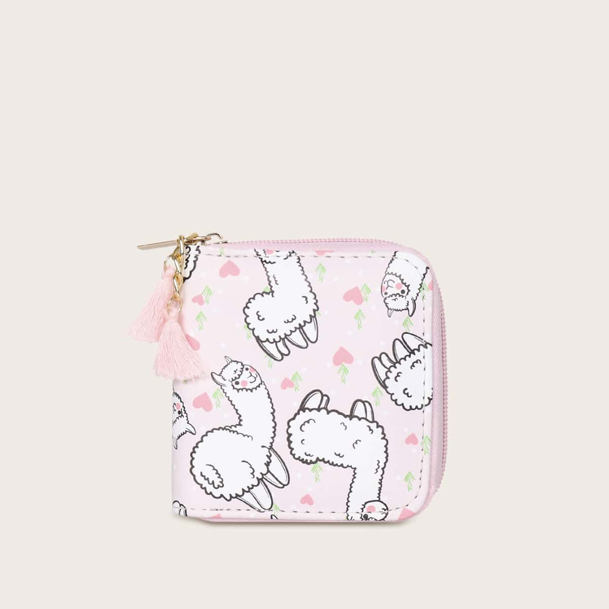 Meisjes alpaca motief omzoomd decoratieve tas