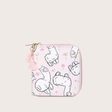 Girls Alpaca Graphic Tassel Decor Purse (skbag03200108981) photo