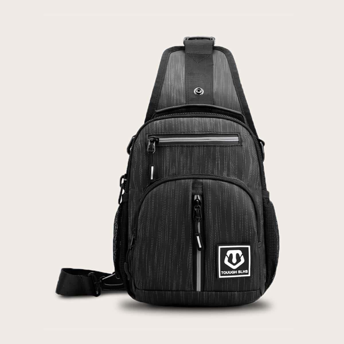 Verplaatsbare schoudertas met dubbele rits voor heren