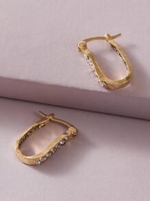 Rhinestone | Irregular | Engrave | Earring | Hoop