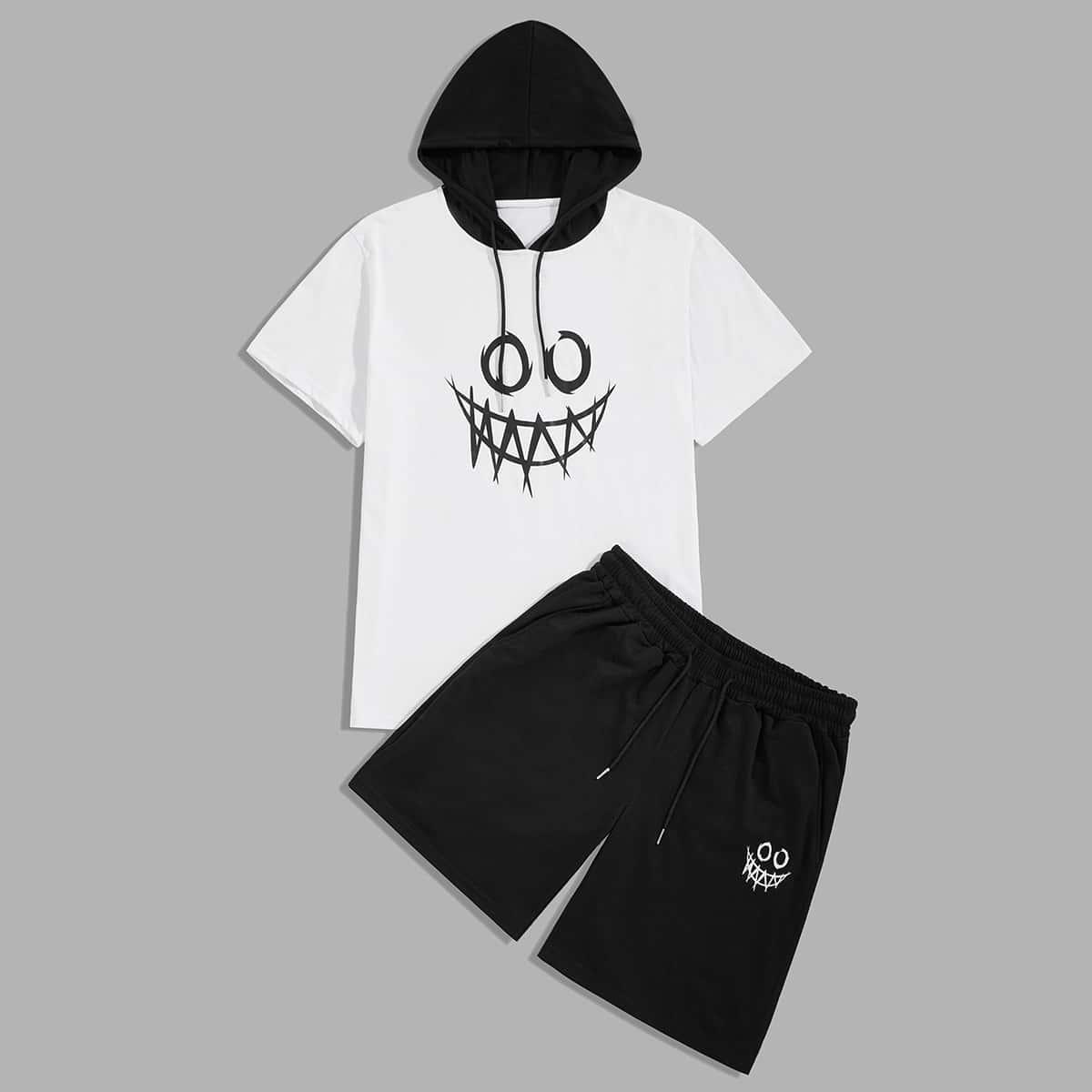 Мужские шорты и футболка с капюшоном, мультяшным принтом от SHEIN