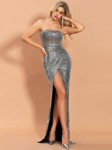 Sequin   Dress   Prom   Tube   Wrap   Back