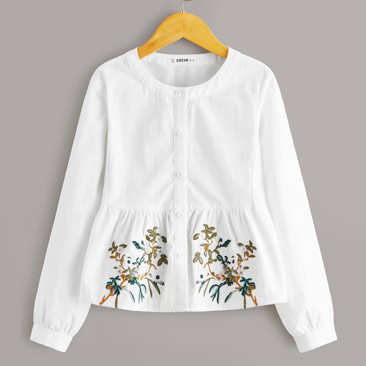 Блуза с ботанической вышивкой и расклешенным краем для девочек от SHEIN