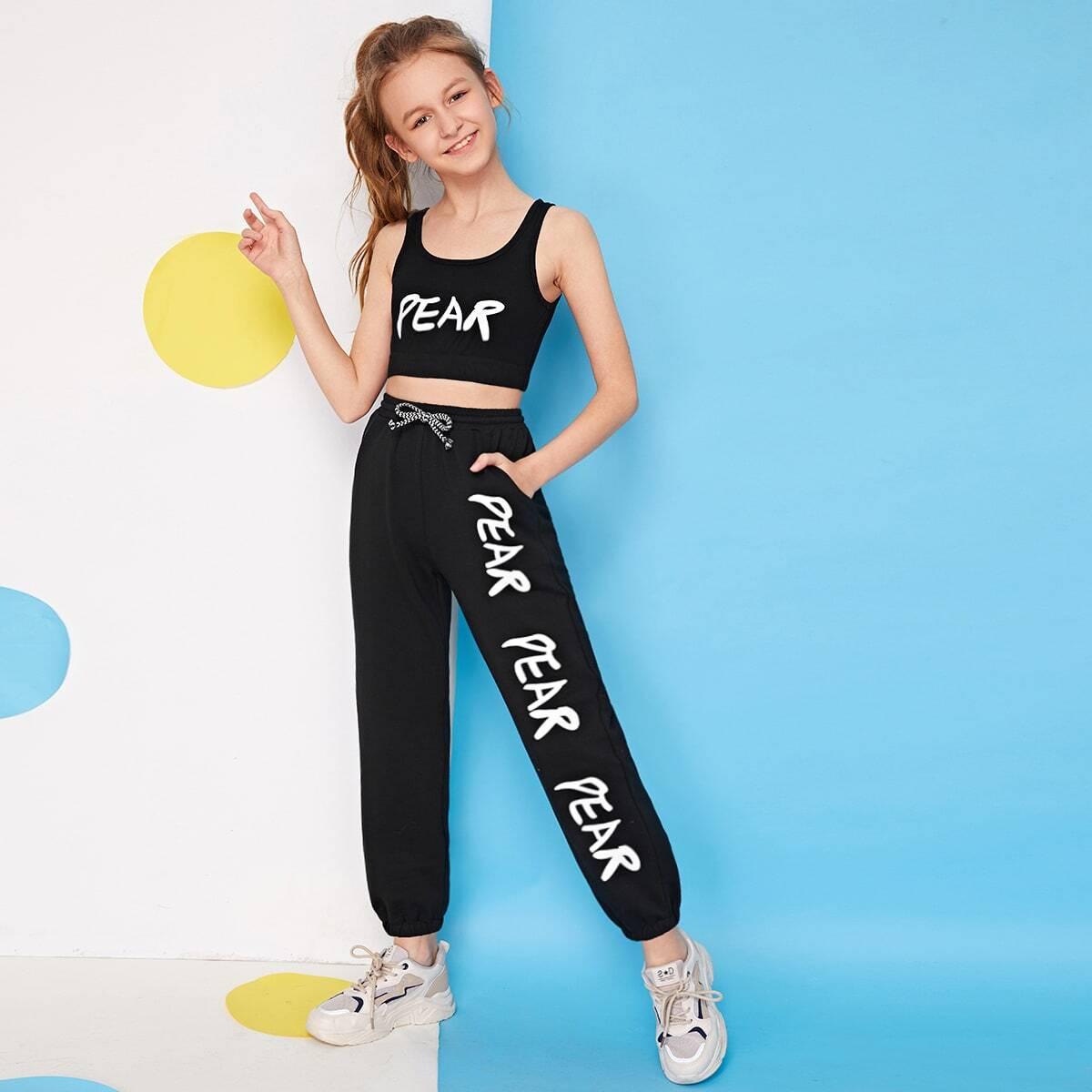 Топ с текстовым принтом и спортивные брюки для девочек от SHEIN