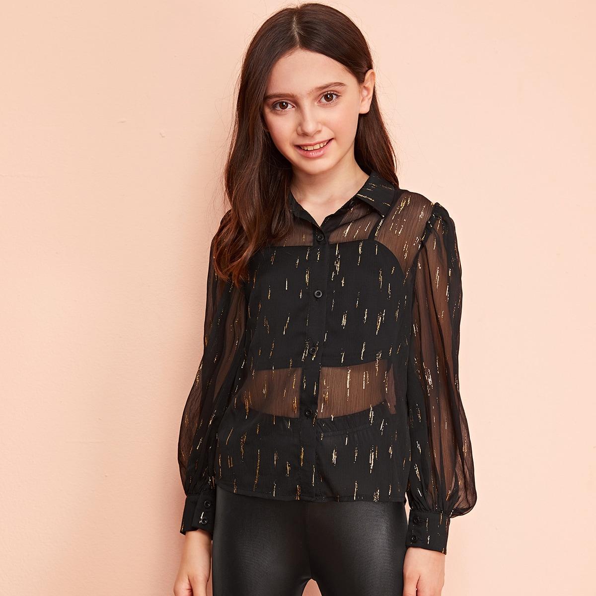 Прозрачная блуза с принтом и рукавом фонарик без майки для девочек от SHEIN