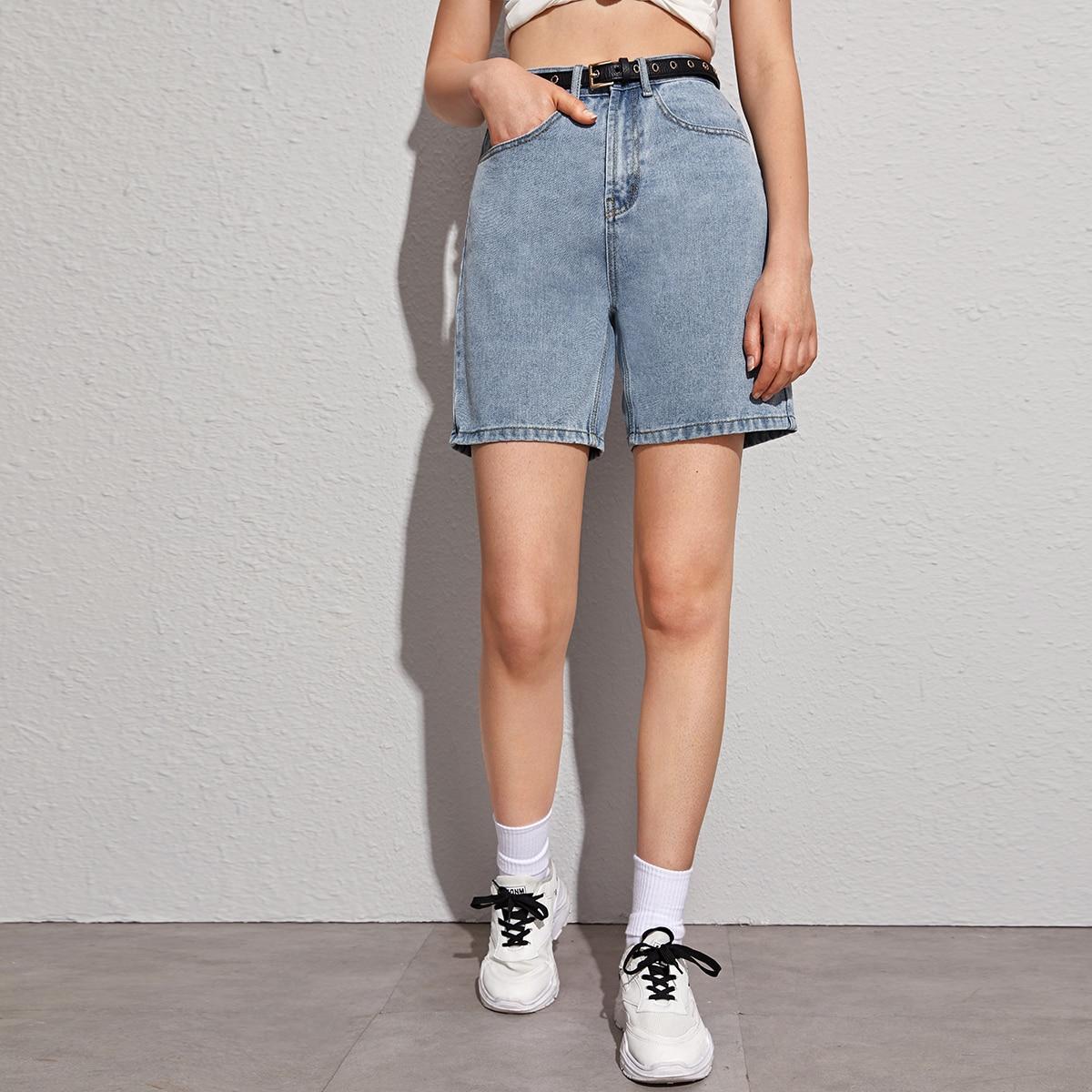 Джинсовые шорты без пояса