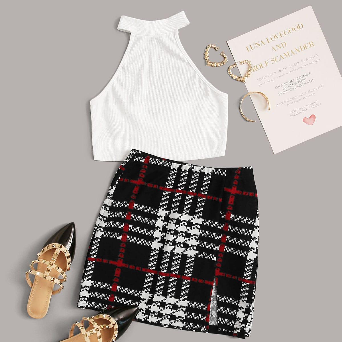 SHEIN / Rib-knit Crop Halter Top & Plaid Skirt Set