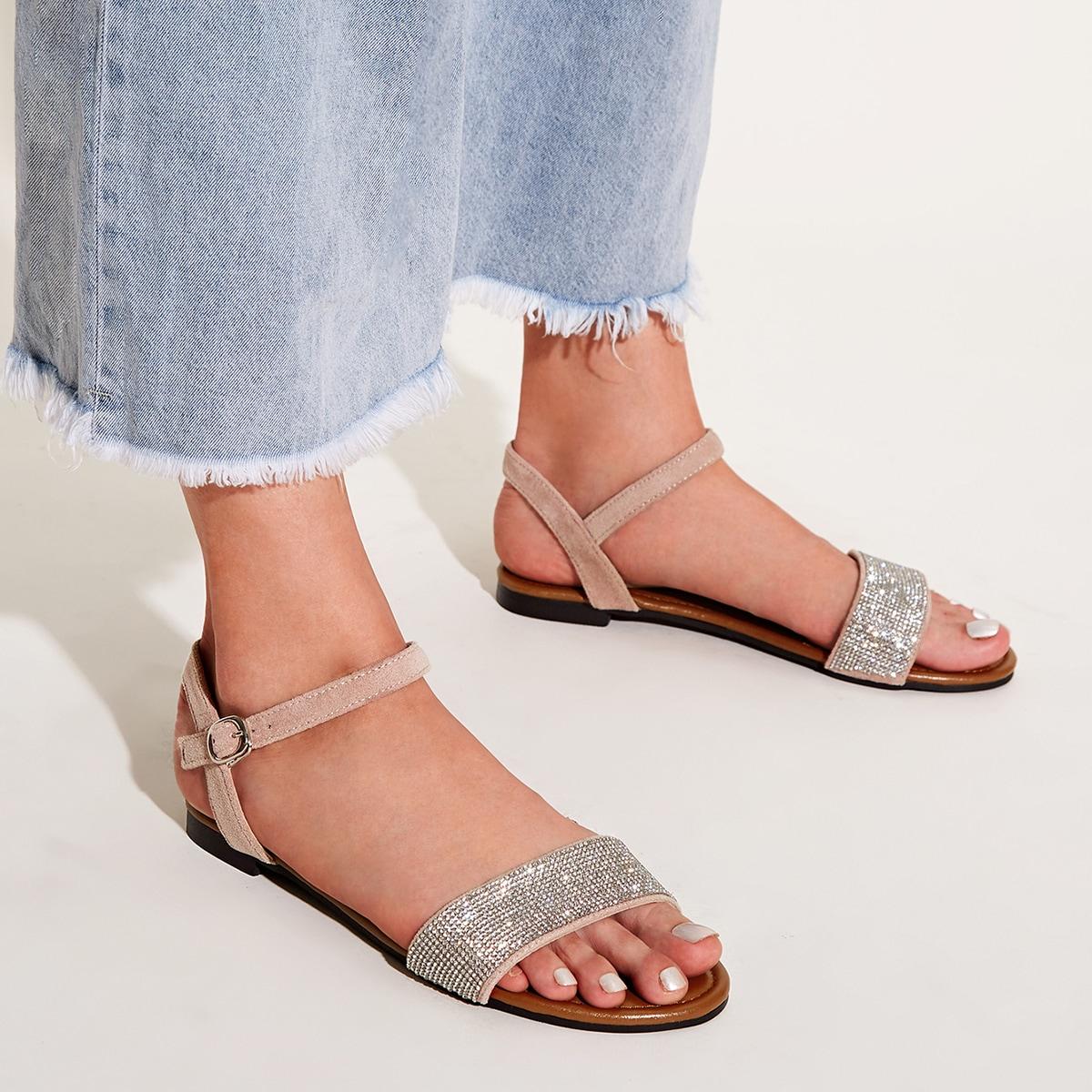 Strass sandalen met enkelbandje