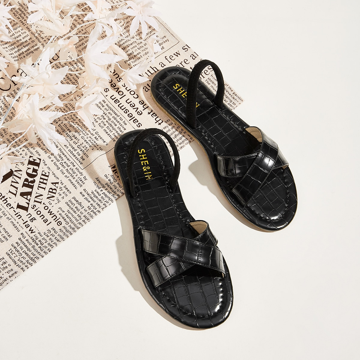 Zwart Comfortabel Krokodil Sandalen