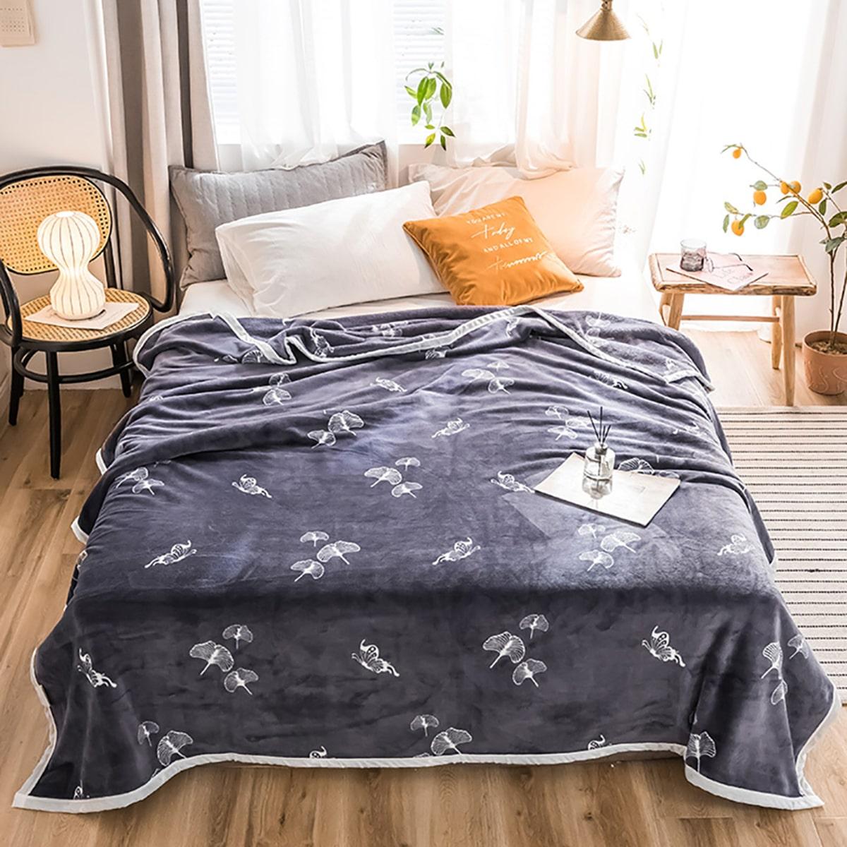 Flanellen deken met vlinderprint