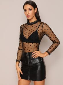 Sheer | Mesh | Back | Neck | Lace | Dot | Tie | Top | Ty