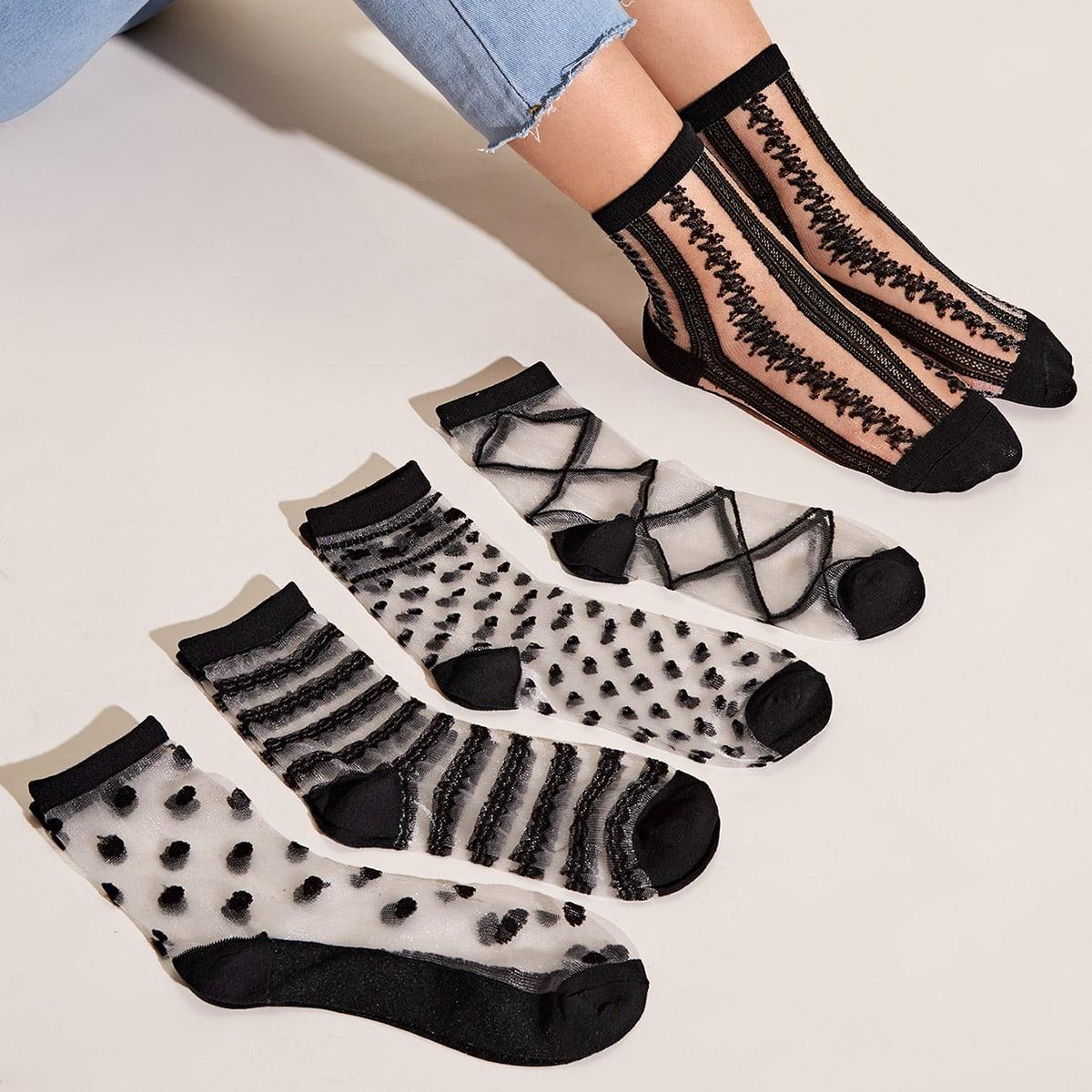 SHEIN / 5 Paare Herz & Streifen Muster Mesh Socken