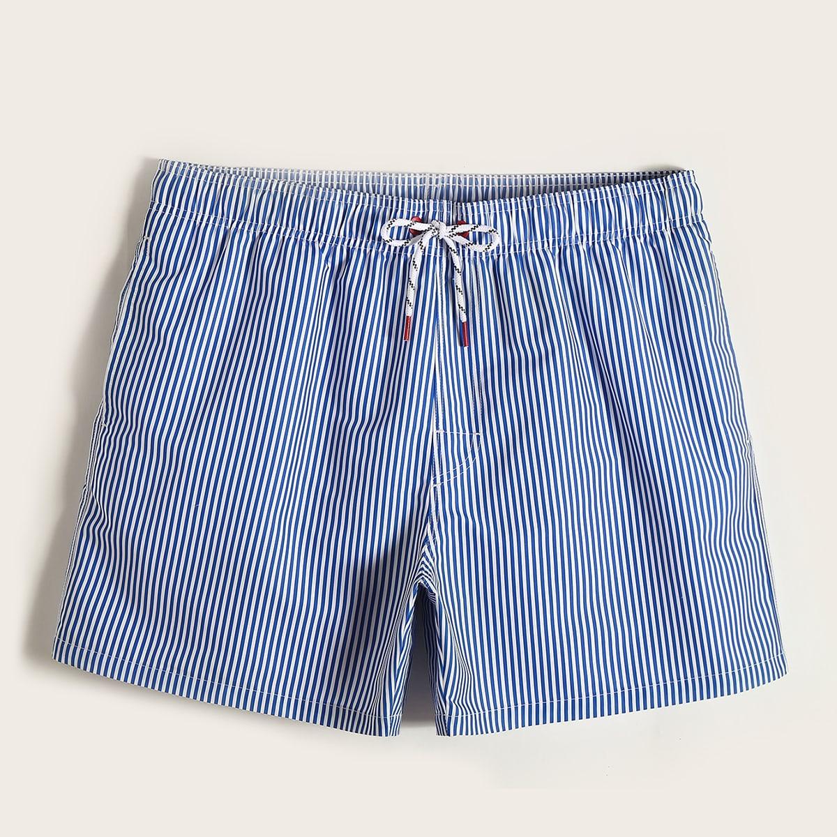 Blauw Vakantie Gestreept Heren badmode Koord