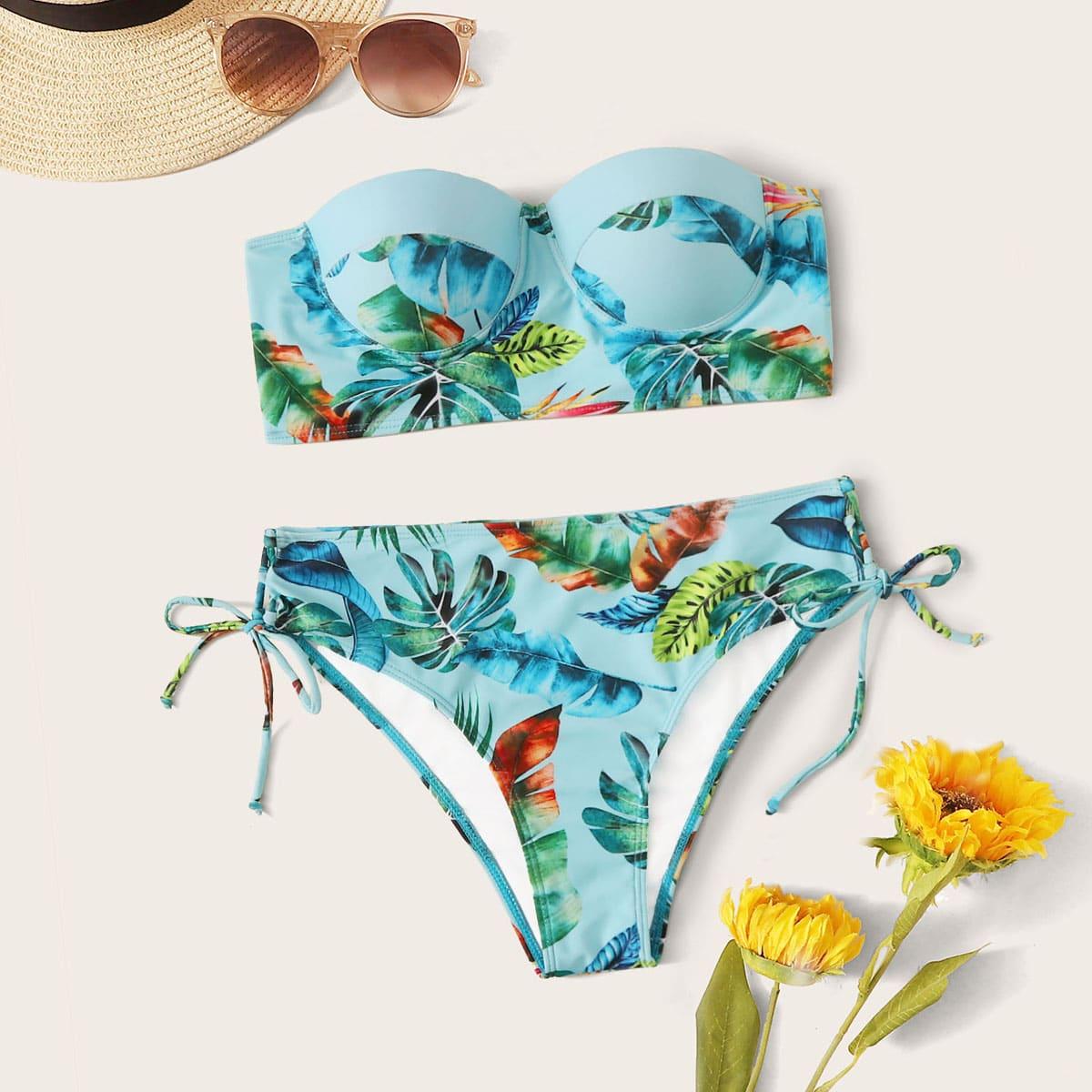 SHEIN / Underwire Random Tropical Bandeau With Tie Side Bikini