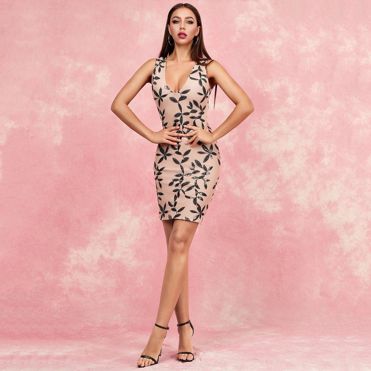 SHEIN / Lucra vestido ajustado con diseño de lentejuelas
