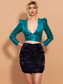 Metallic | Plunge | Ruched | Skirt | Back | Neck | Tie | Set | Top | Ty