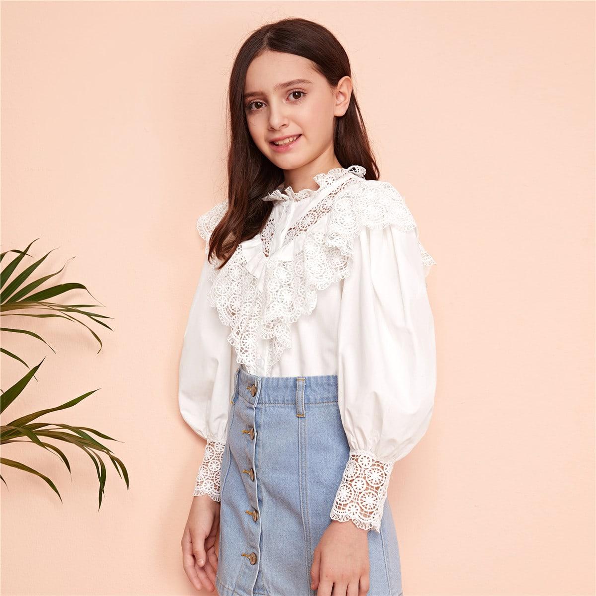 Блуза с рукавом фонарик и кружевной отделкой для девочек от SHEIN