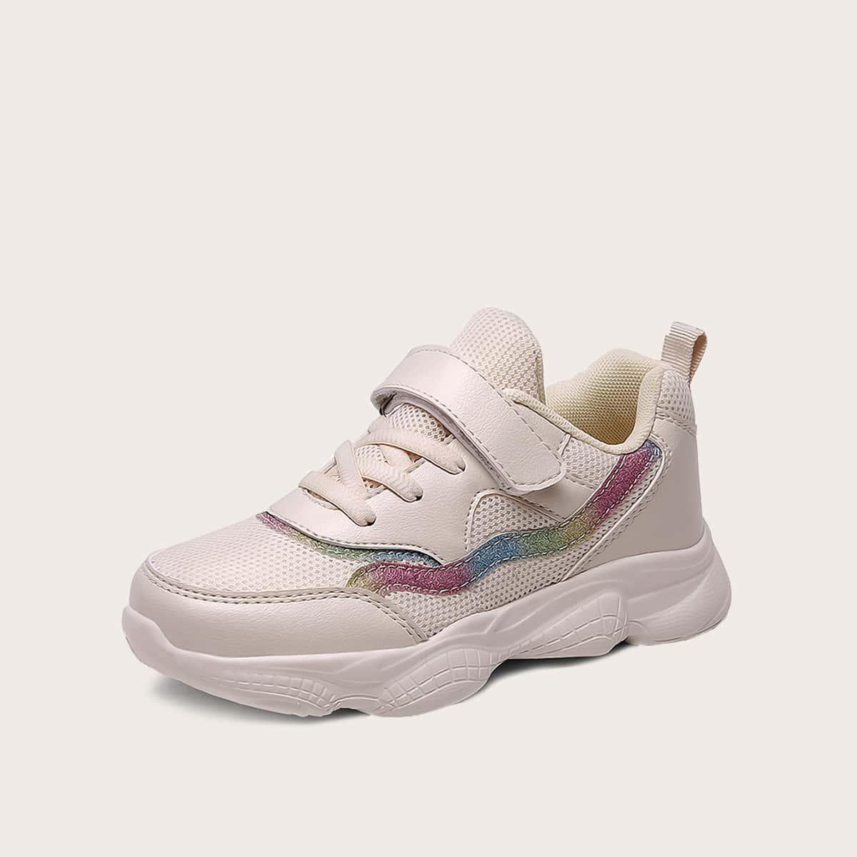 Кроссовки на шнурках и липучке для девочек от SHEIN