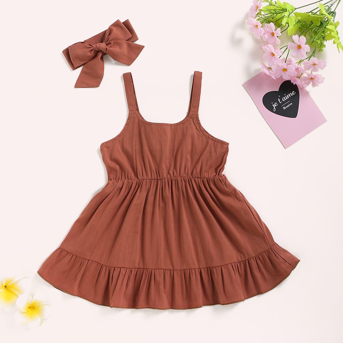 Повязка на голову и платье на бретелях с оборками для девочек от SHEIN