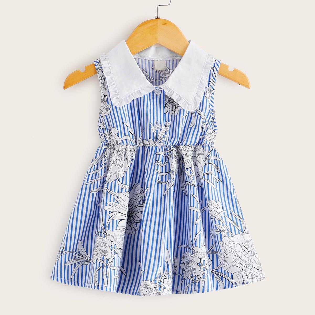 Полосатое цветочное платье-рубашка с контрастным вырезом для девочек от SHEIN