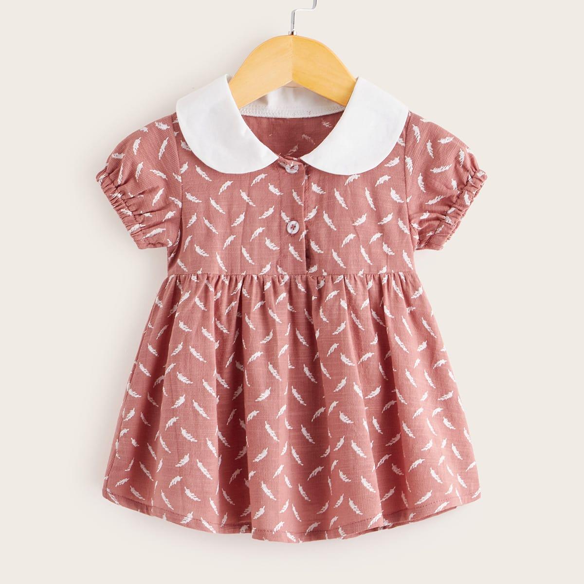 Платье с воротником питером пэном и принтом меха для девочек от SHEIN