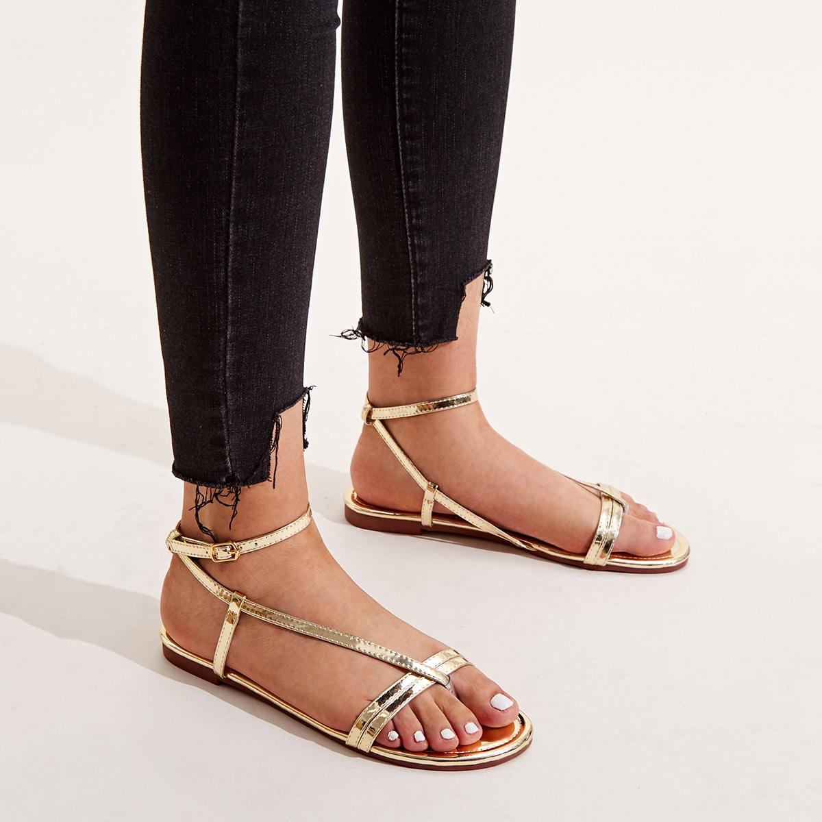 Metallic enkel sandalen