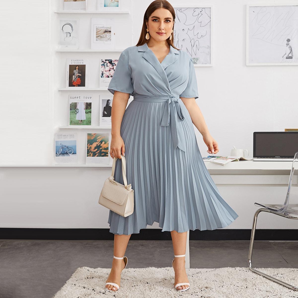 SHEIN / Große Größen - Hemdkleid mit Selbstgürtel und Falten