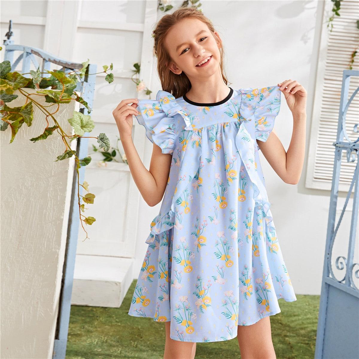 Цветочное платье с оборками и рукавом бабочка для девочек от SHEIN