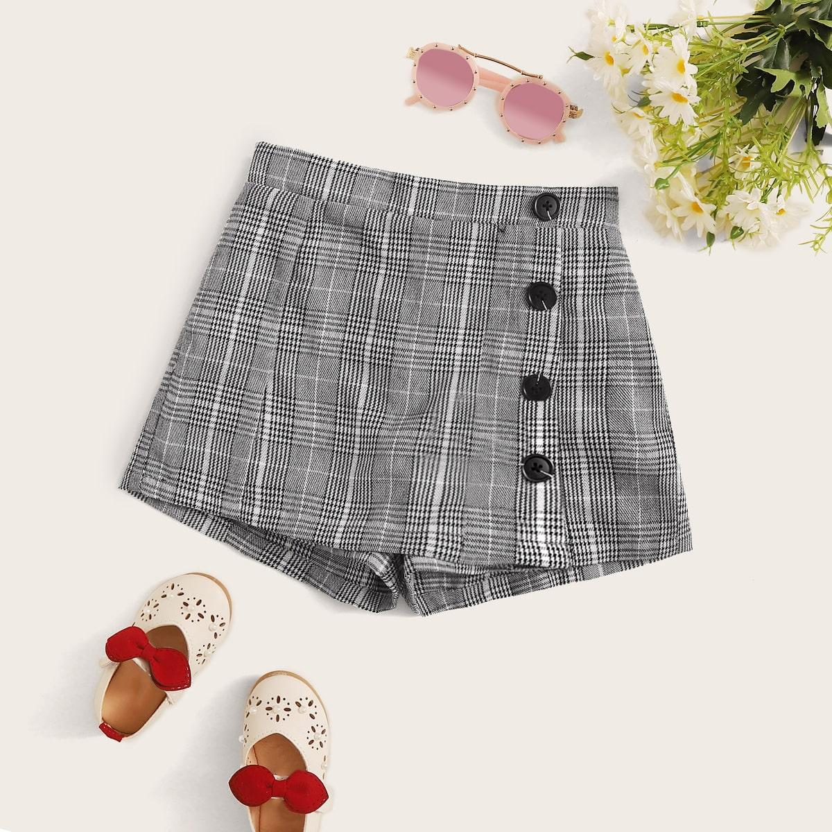 Юбка-шорты в клетку с пуговицами для девочек от SHEIN