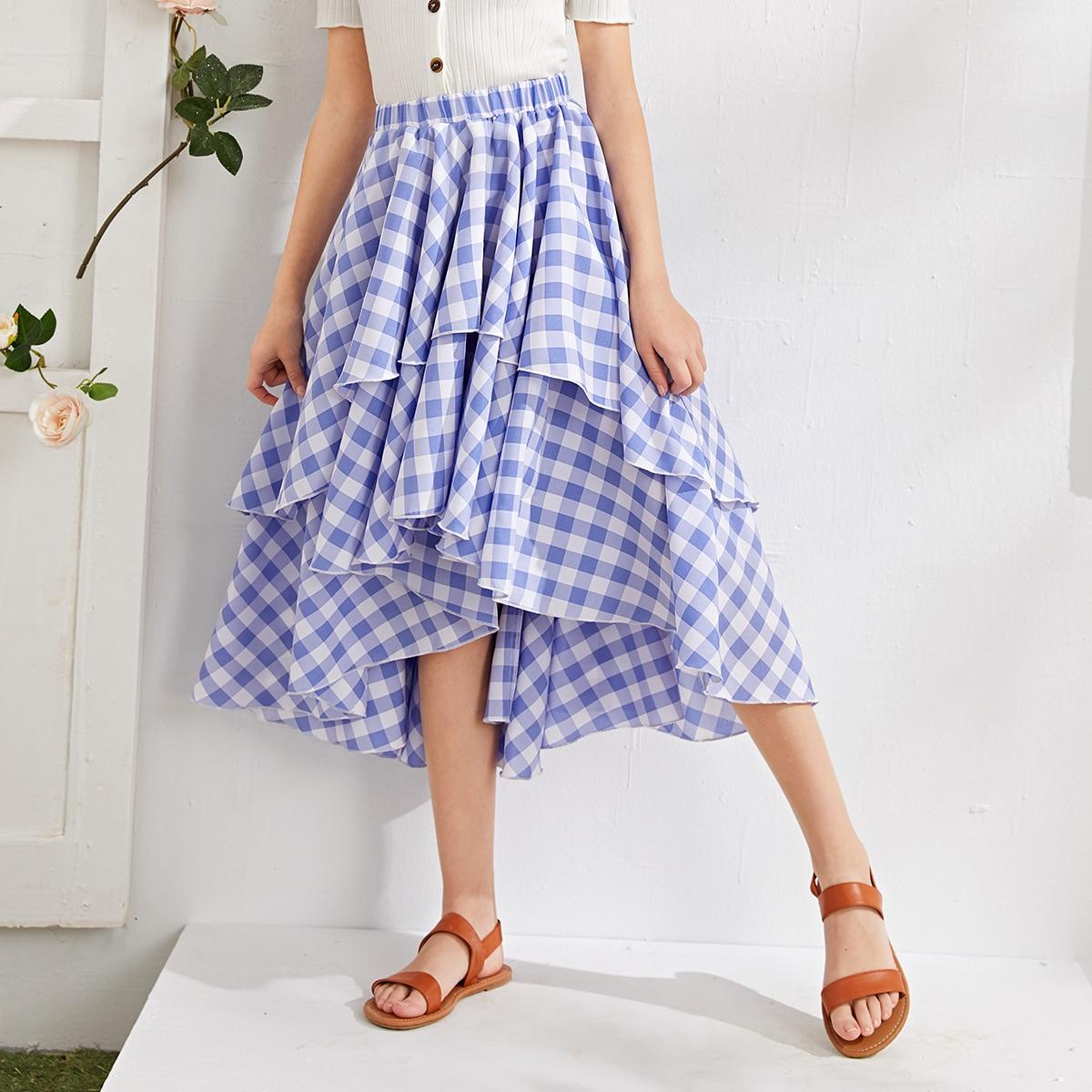 Асимметричная юбка в клетку для девочек от SHEIN