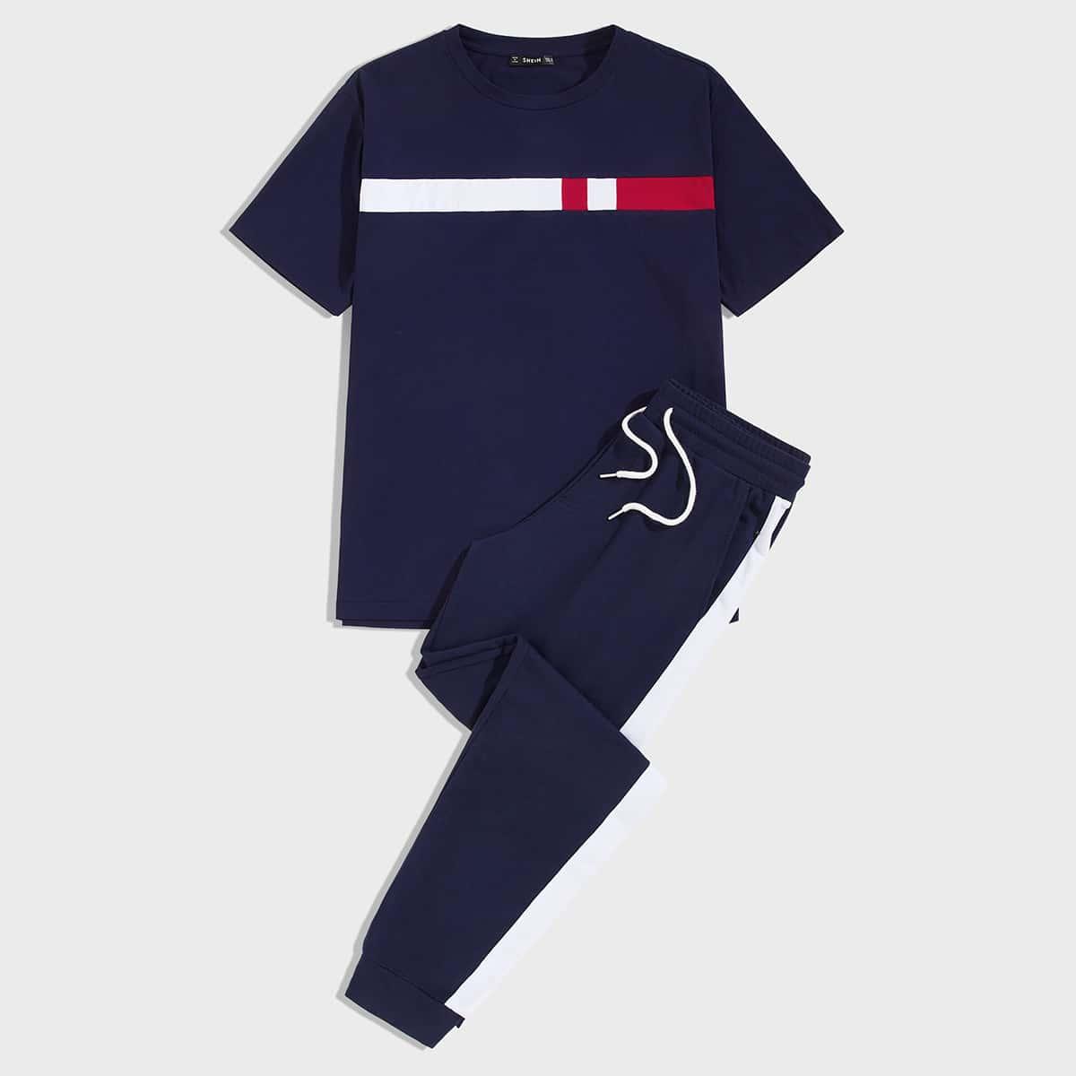 Мужская контрастная футболка и спортивные брюки на кулиске с полосками от SHEIN