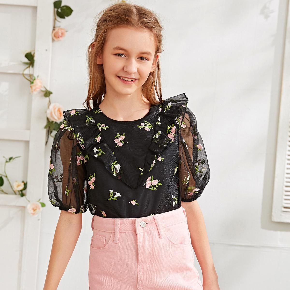 Сетчатый топ с цветочной вышивкой, пышным рукавом и оборками для девочек от SHEIN