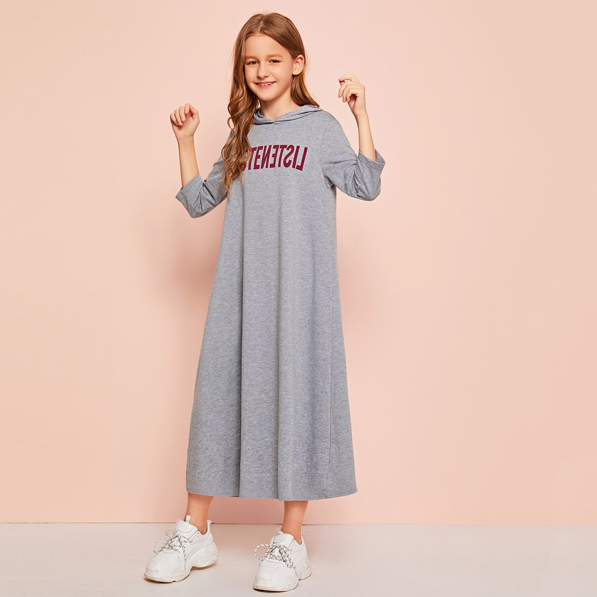 Платье с капюшоном и текстовым принтом для девочек от SHEIN
