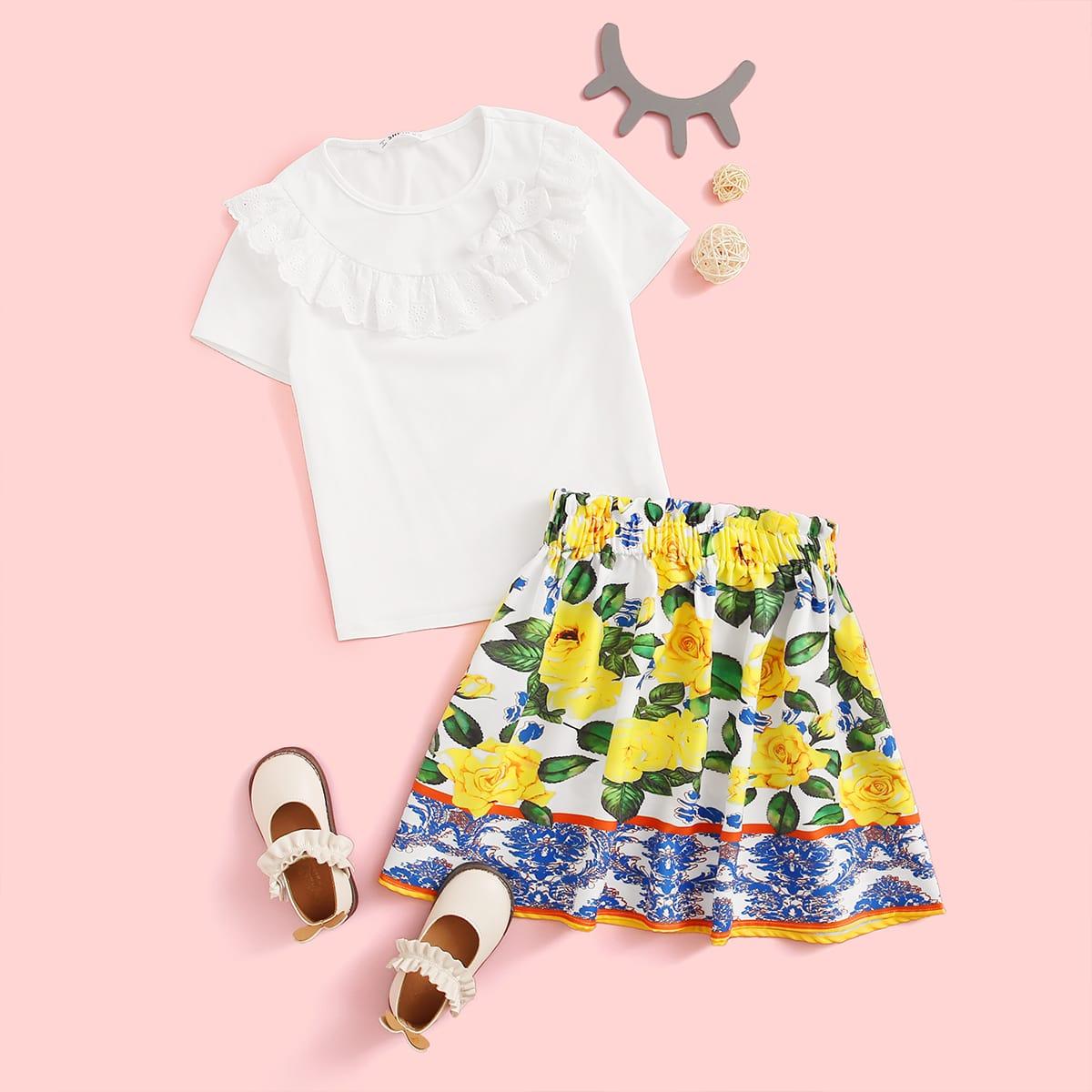 SHEIN / Mädchen Top mit Raffung Detail & Rock Set mit Papiertasche Taille und Blumen Muster