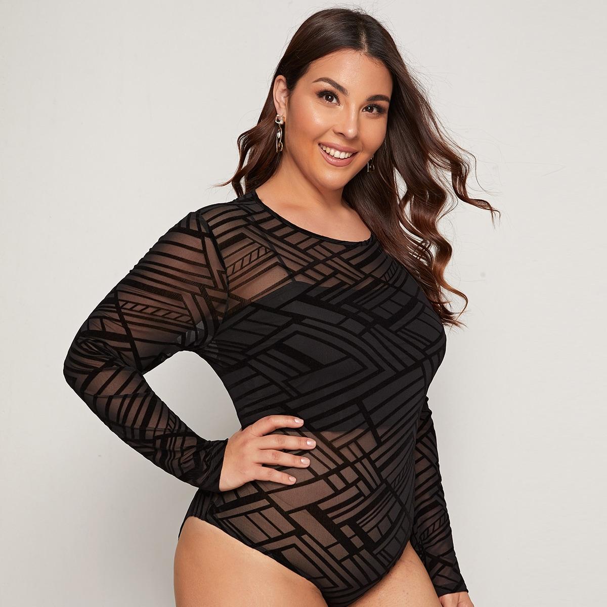 Zwart Sexy Vlak Bodysuit grote maat Zeeg