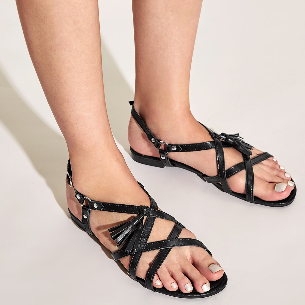 Tassel Decor Cross Strap Slingback Open teen sandalen