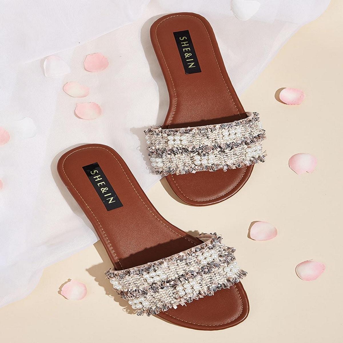 Faux Pearl Decor Tweed Platte Slippers